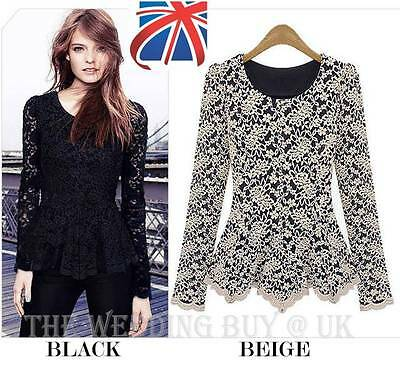 UK Long Sleeve Embroidery Lace Flared Peplum Crochet Top Tee T-Shirt Vest Blouse