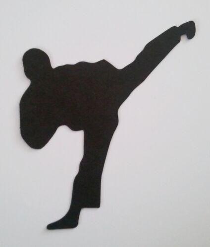 KARATE MAN TAE KWON DO MARTIAL ARTS SILHOUETTE x 10 Die Cuts Quality Black Card