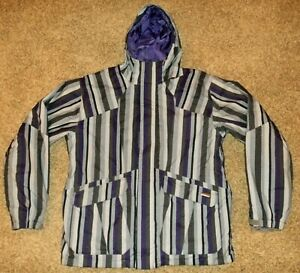 Burton-System-mens-sz-XL-hooded-Jacket-purple-gray-striped-Snowboard-Jacket-EUC