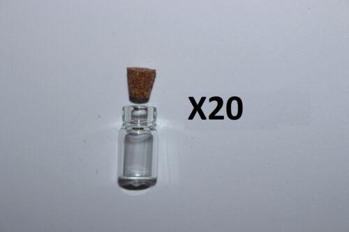 10 flacons en verre création bijoux fimo taille:18x10mm 20 fioles Lot de 5