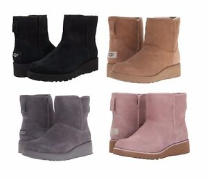 NEW-Authentic-UGG-Women-039-s-Winter-Kristin-Wedge-Boots-Shoes-Black-Chestnut-Pink