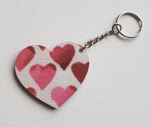 Image is loading Handmade-Wooden-Heart-Keyring-Keychain-Emma -Bridgewater-Hearts- 252fa8a35de9