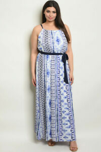 Womens-Plus-Size-Blue-and-White-Tie-Dye-Maxi-Dress-4XL-Summer-Travel