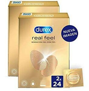 Durex Preservativos Real Feel, condones Sensitivos sin Latex  48 unidades
