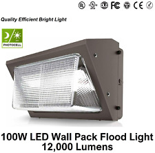 100w Led Outdoor Wall Pack With Photocell 5000k 12000lm Glass Lens Ip65 Ul Dlc