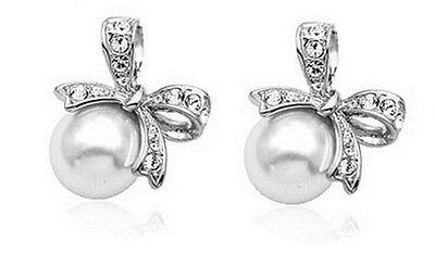 Elegant Bridal Silver Bow Knot White Pearl Earrings Studs E639