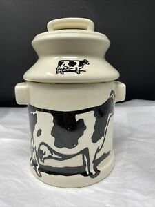 Ceramic-Milk-Can-Jug-Cookie-Jar-Canister-Farmhouse-Country-Black-And-White-Cow