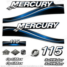 2005 Blue Mercury 115hp Saltwater Optimax Outboard Engine Decals Reproductions