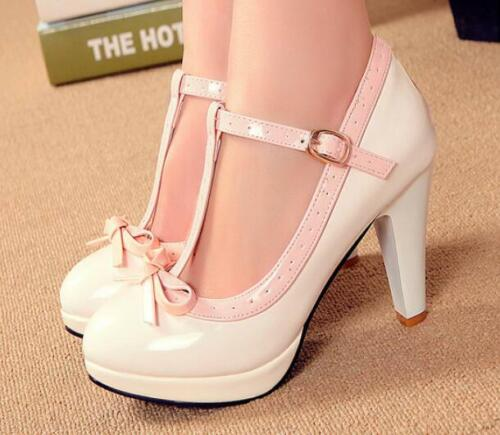 Cute Womens T-Strap Bowknot High Heel Pumps Lolita Mary Jane Shoes OL Pumps Size