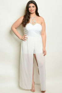 Details about Womens Plus Size White Romper Maxi Dress 1X New Jeweled  Neckline
