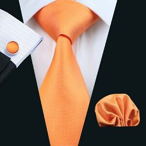 Image Is Loading New Men S Silk Necktie Set Orange Solid