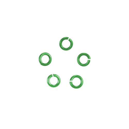 K36//15 Hypoallergenic Niobium 4mm Green Jump Rings 0.8mm Pack of 5 20 Gauge