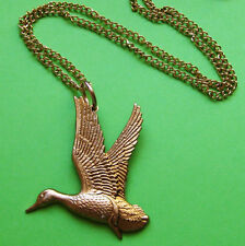 VINTAGE FLYING DUCK NECKLACE BRASS CHARM GOLD BIRD PENDANT CHAIN WINGS FLY LOVE