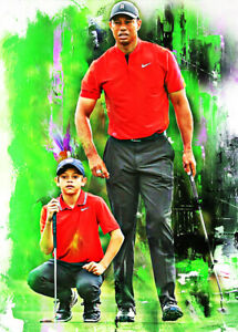 2021 Tiger & Charlie Woods Golf Professional 23/25 Art Print Card By:Q
