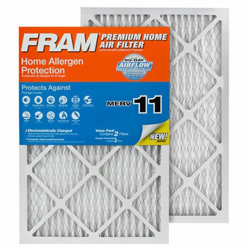 4pk Furnace Air Filter 14x20x1 MERV 11 FRAM Home w//Home Allergen Protection