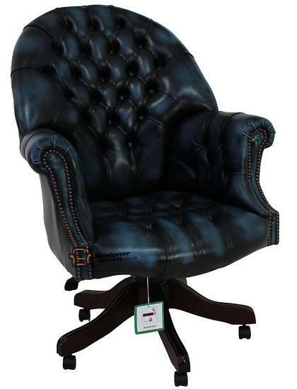 Chesterfield Directors Swivel Office Chair Antique Blue