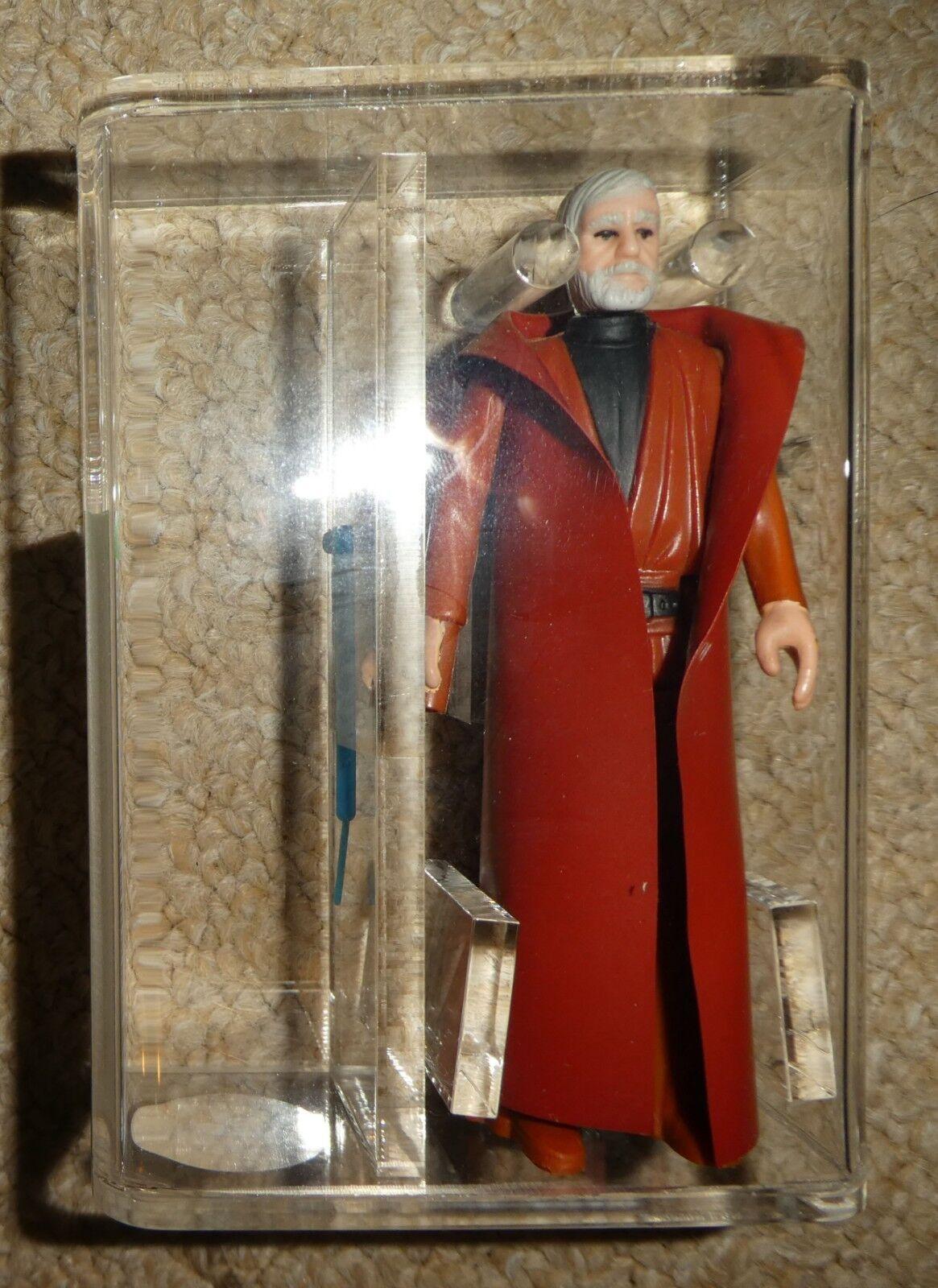 De colección Guerra de las Galaxias Obi Wan Kenobi AFA 80 casi como nuevo 1977 HK Kenner Figura de cabello gris oscuro