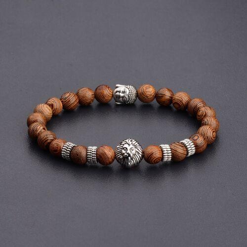 Homme Naturel en Bois Stone Silver Gold Lion Bouddha Perles Bracelet Breloque le moins cher