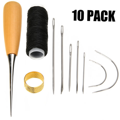 7Pcs Sewing Needles with Leather Waxed Thread Cord Drilling Awl Thimble Kit Set