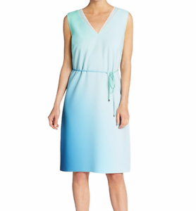 NEW Elie Tahari Dress Large White bluee Green Perla Ombre Watercolor NWT
