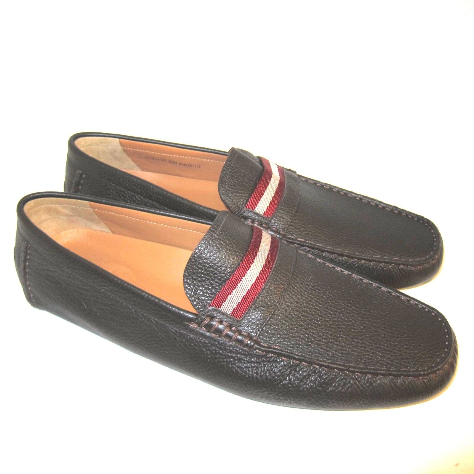 C-1607100 New Bally Wabler Chocolate Calf Grained Moccasins shoes Size US 12 D