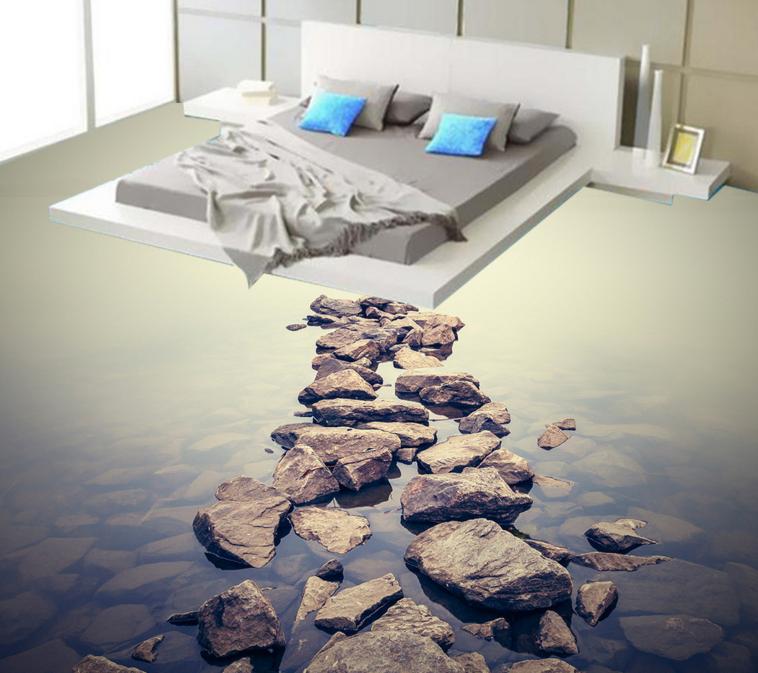 3D River Stone View 70 Floor WallPaper Murals Wall Print Decal AJ WALL CA Carly