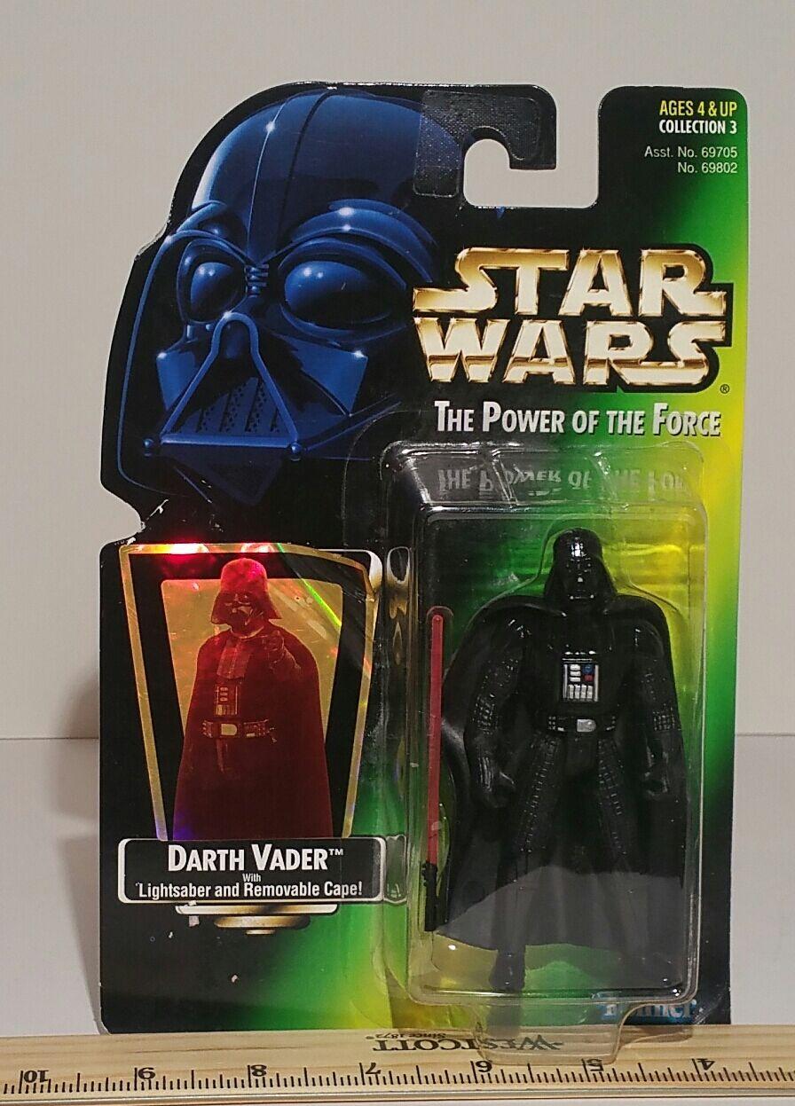 Star Wars Darth Vadar Power Of The Force Green Card Variant Foil Card 1997 MOC