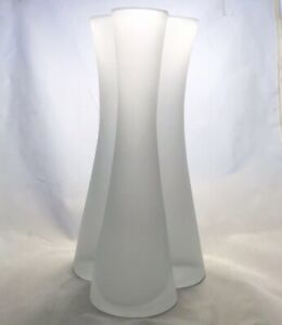 Tall-Frosted-Thick-Glass-Vase-3-Cylinders-Clover-Shape-Opening-And-Base