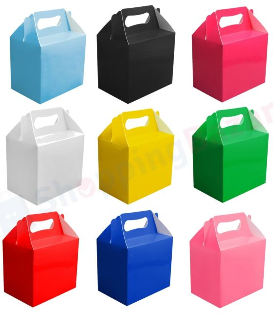 10xCHILDREN KIDS BIRTHDAY PARTY LOOT FAVOUR BAGS BOXES PLAIN COLOUR CARRY FOOD