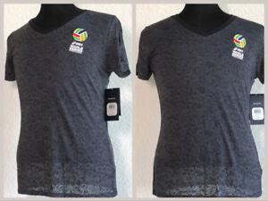 NWT-Asics-Gray-Smoke-Women-039-s-V-Neck-Volleyball-T-Shirt-Top-Size-Medium