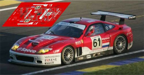 Calcas Ferrari 575 GTC Le Mans 2004 61 62 1:32 1:24 1:43 1:18 slot decals