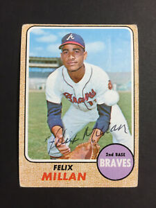 Felix Millan Braves Signed 1968 Topps Baseball Card #241 Auto Autograph
