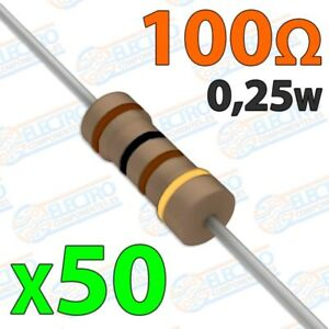 Resistencia-100-ohm-0-25w-5-300v-Lote-50-unidades-Arduino-Electronica-DIY