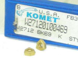 10 NEW KOMET CARBIDE INSERTS W27 12010.0469 GRADE BK69 USA Tin coated