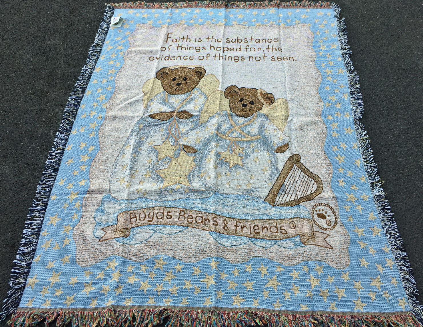 Boyds Bears & Friends Faith Angel Bears Tapestry Afghan Throw