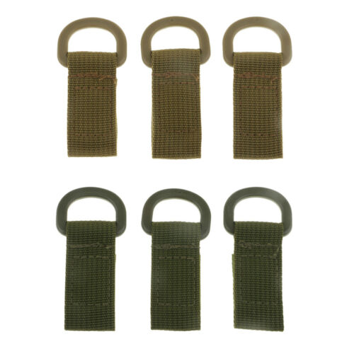 6pcs Tactical Molle Bags Webbing Attachment Strap D-Buckle Adapter Holder