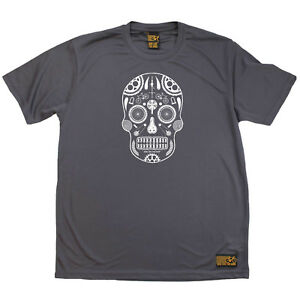 595fd176b Cycling T-Shirt Funny Mens Sports Performance Tee - Candy Skull Bike ...