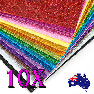10x-A4-Glitter-Foam-Sheet-10-Colours-Craft-Paper-Scrapbooking-NON-STICKY