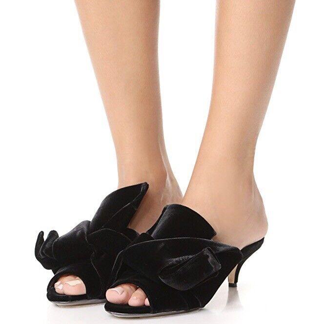 NIB No.21  640 Black Velvet 37.5   US 7.5 Bow Kitten Heel Slides Heels NEW NWT