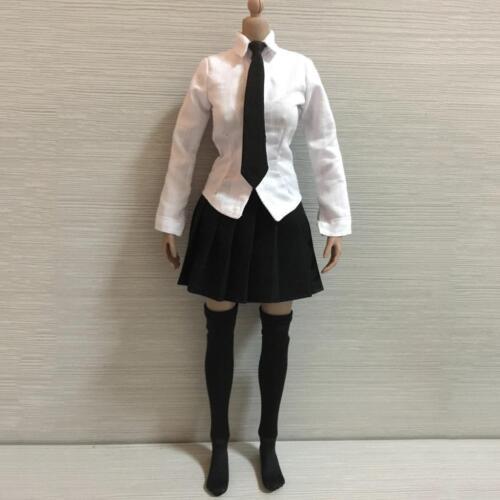 "1//6 Scale White Shirt Black Plaid Mini Skirt Tie Set for 12/"" Female Figures"