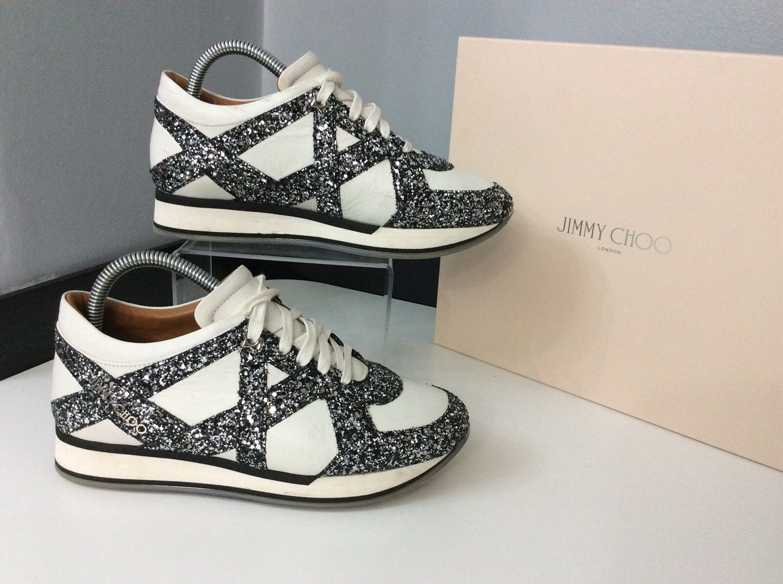 Jimmy Choo White Glitter Trainers Sneakers Size 38.5 Uk 5.5 Vgc Boxed Rrp