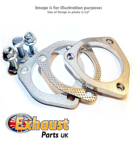 """76mm 3/"""" Stainless Steel Set Exhaust Flange Repair Kit Section 3 Bolt Gasket"""