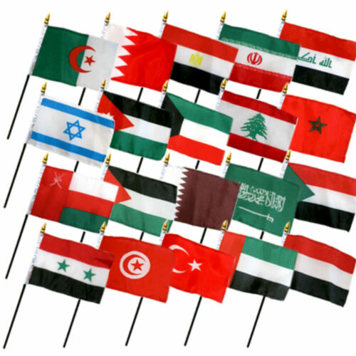 "No Bases Set of 20 Middle East Eastern Countries 4/""x6/"" Desk Table Stick Flag"