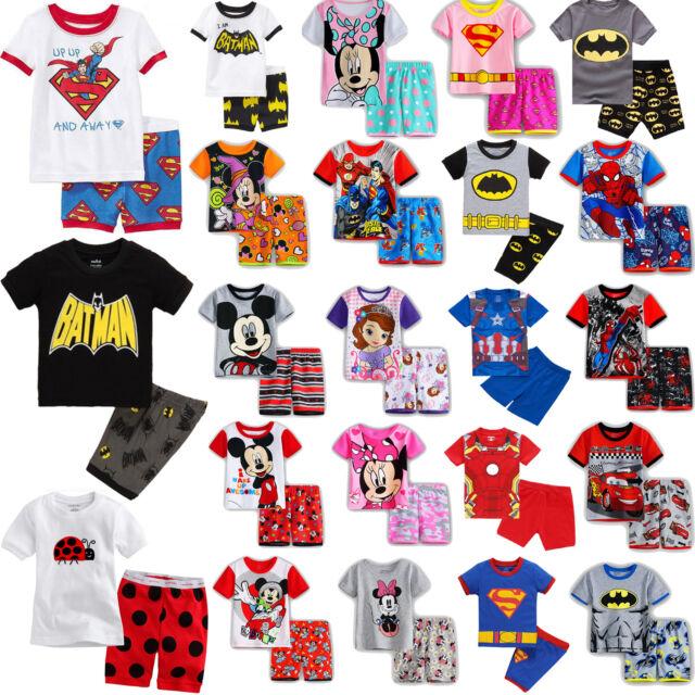 Toddler Kids Boys Girls Cartoon Short Nightwear Sleepwear Pj's Pyjamas Outfits