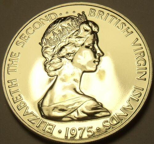 Rare Unc British Virgin Islands 1975-U 25 Cents~Mangrove~Only 2,351 Minted~F//S