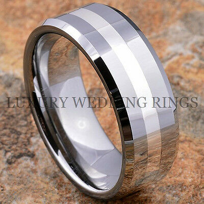 8mm Tungsten Carbide Wedding Band Silver Inlay Men Ring Titanium Color Size 6-13