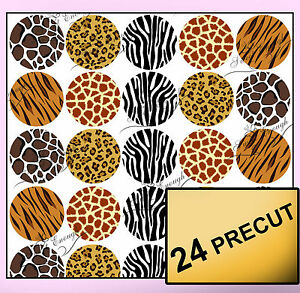 24 animal print pre cut edible wafer paper cup cake topper for Animal print edible cake decoration