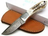 Damascus Stag Handle Hunter Straight Fixed Hunting Knife + Sheath Dm1050sg