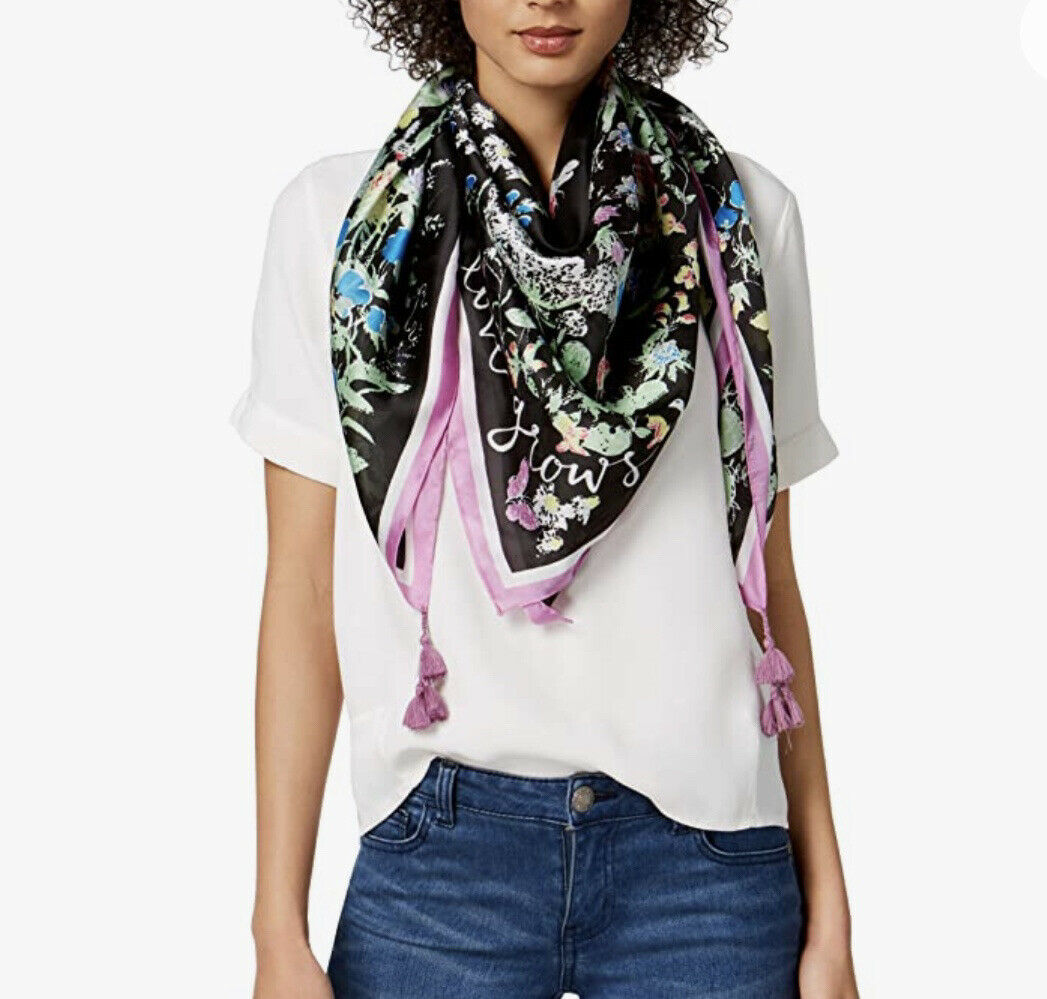 INC International Concepts Garden Poem Square Scarf One Size Black Bright NEW
