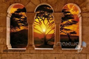 African sunset giraffe 3d window removable wall decals for African sunset wall mural